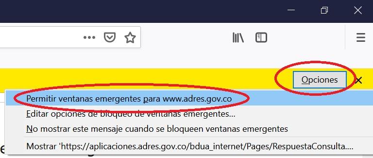 Permitir ventanas emergentes en Firefox