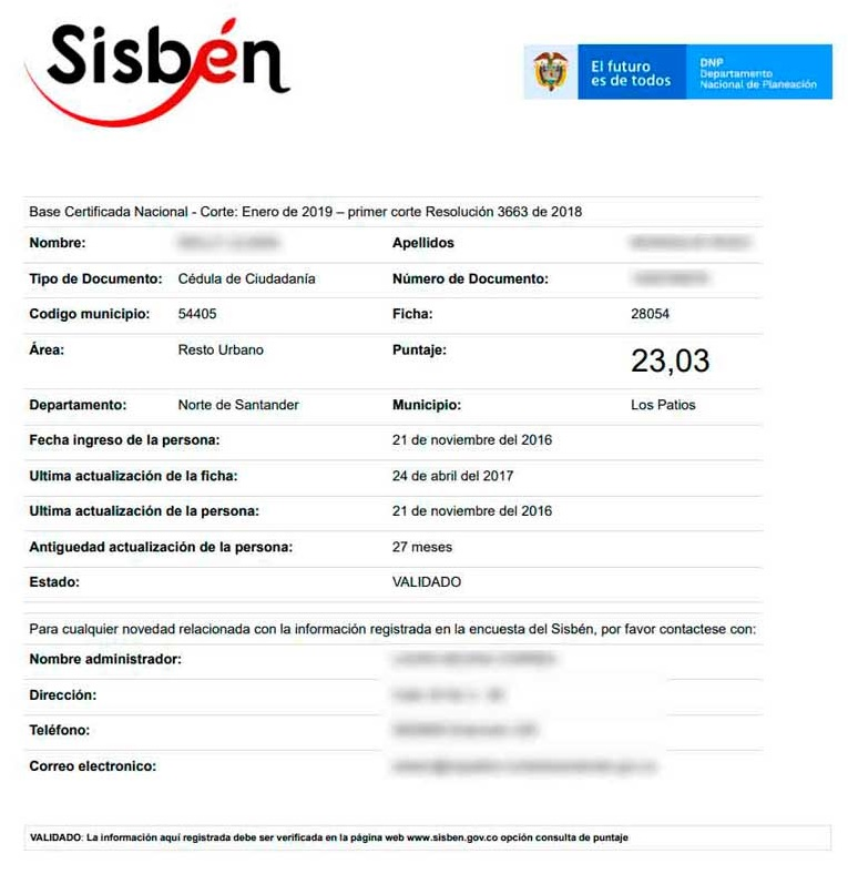 Certificado de afiliación - SISBEN